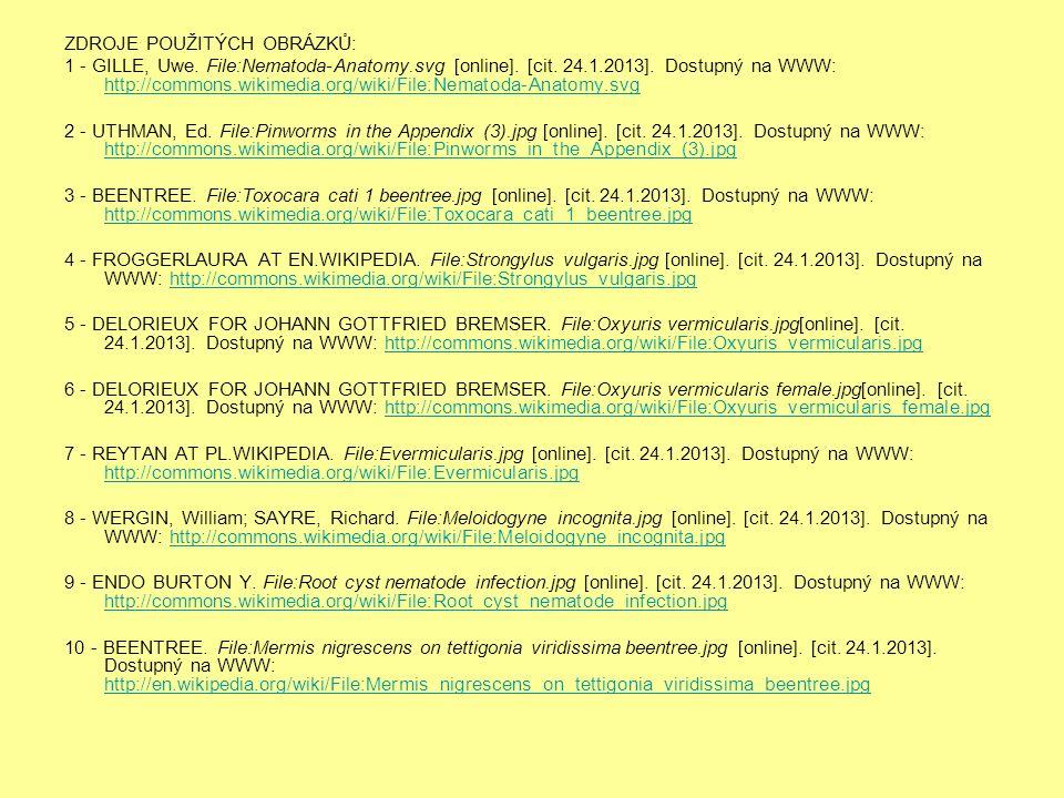 ZDROJE POUŽITÝCH OBRÁZKŮ: 1 - GILLE, Uwe. File:Nematoda-Anatomy.svg [online].