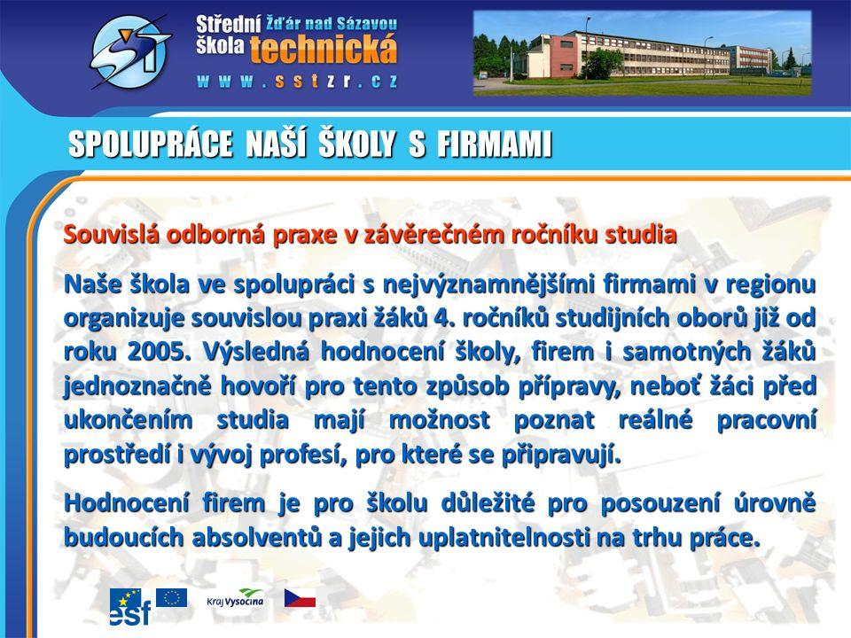 Souvislá odborná praxe v závěrečném ročníku studia Naše škola ve spolupráci s nejvýznamnějšími firmami v regionu organizuje souvislou praxi žáků 4.