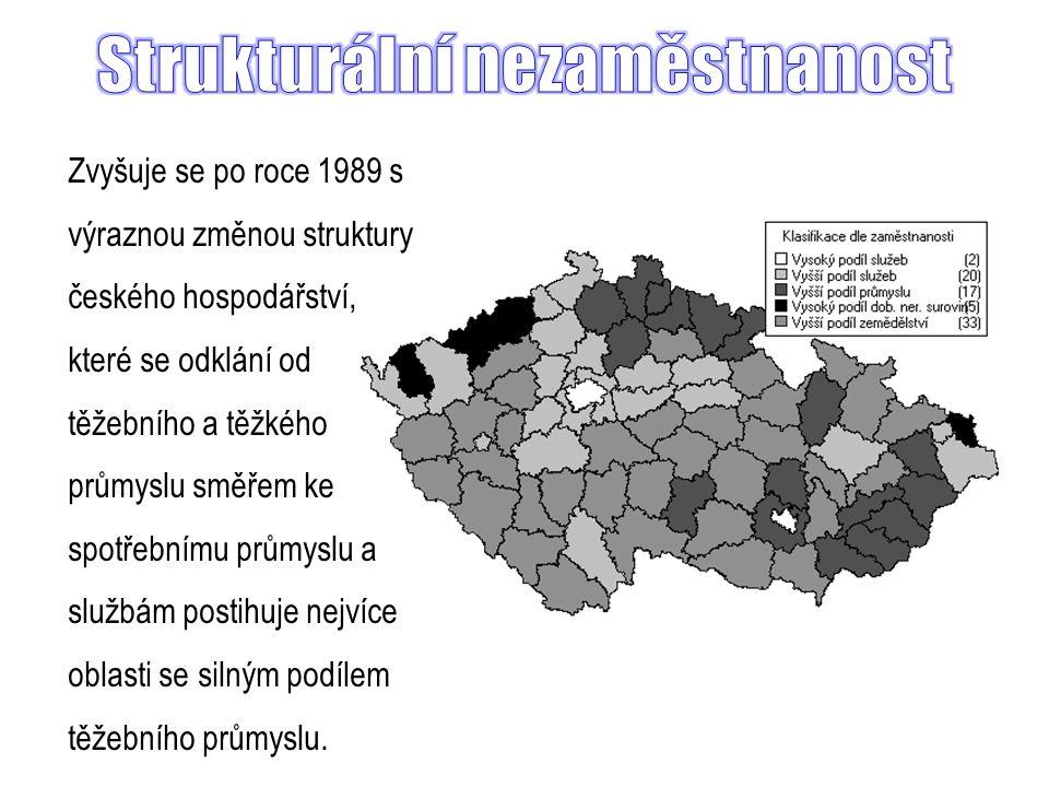 Zvyšuje se po roce 1989 s výraznou změnou struktury českého hospodářství, které se odklání od těžebního a těžkého průmyslu směřem ke spotřebnímu průmyslu a službám postihuje nejvíce oblasti se silným podílem těžebního průmyslu.