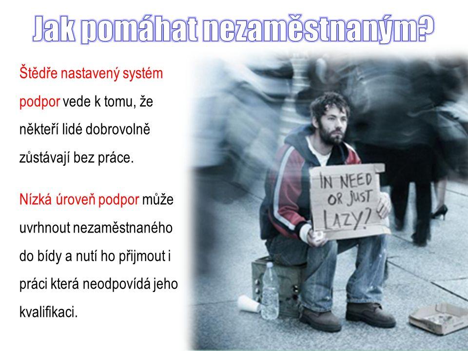 Štědře nastavený systém podpor vede k tomu, že někteří lidé dobrovolně zůstávají bez práce.