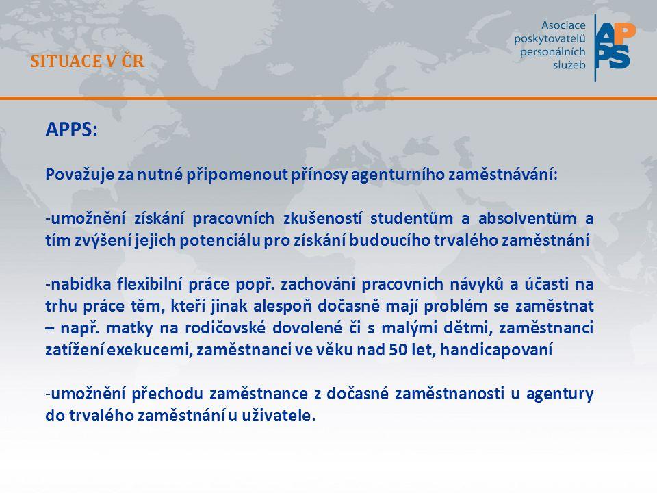 SITUACE V ČR APPS: Považuje za nutné připomenout přínosy agenturního zaměstnávání: -umožnění získání pracovních zkušeností studentům a absolventům a tím zvýšení jejich potenciálu pro získání budoucího trvalého zaměstnání -nabídka flexibilní práce popř.