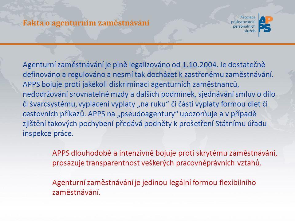 Fakta o agenturním zaměstnávání Agenturní zaměstnávání je plně legalizováno od 1.10.2004.