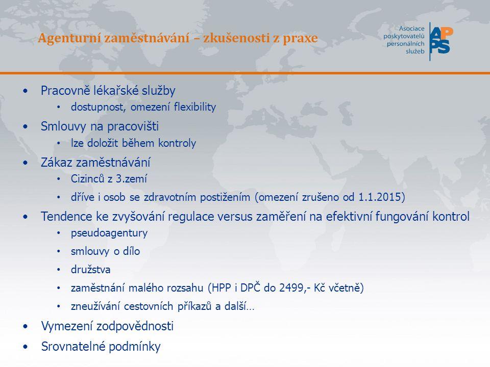 SITUACE V ČR APPS pro omezení zneužívání agenturního zaměstnávání navrhla: -Omezení nebo zákaz souběhu (kmenoví zaměstnanci a současně agenturní u jednoho uživatele) -zákaz přidělování více agenturami k jednomu uživateli v rámci kalendářního měsíce nebo současně.