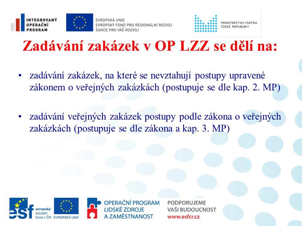 Zadávání zakázek v OP LZZ se dělí na: zadávání zakázek, na které se nevztahují postupy upravené zákonem o veřejných zakázkách (postupuje se dle kap.