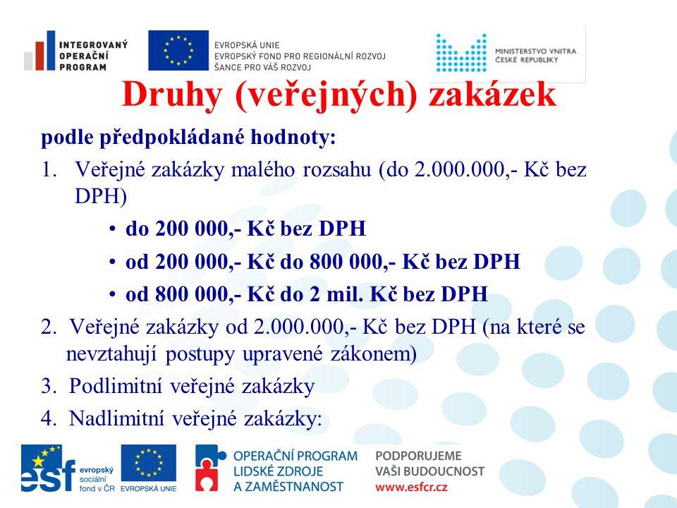 Druhy (veřejných) zakázek podle předpokládané hodnoty: 1.Veřejné zakázky malého rozsahu (do 2.000.000,- Kč bez DPH) do 200 000,- Kč bez DPH od 200 000,- Kč do 800 000,- Kč bez DPH od 800 000,- Kč do 2 mil.