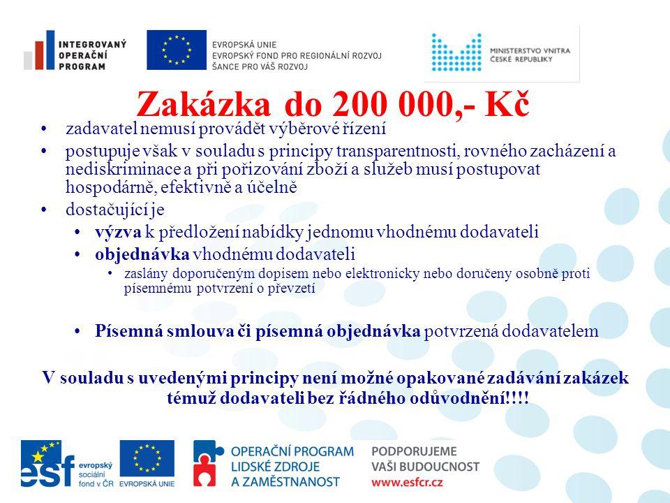 Zakázka do 200 000,- Kč zadavatel nemusí provádět výběrové řízení postupuje však v souladu s principy transparentnosti, rovného zacházení a nediskrimi