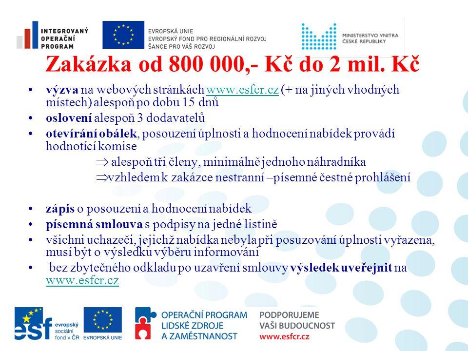 Zakázka od 800 000,- Kč do 2 mil. Kč výzva na webových stránkách www.esfcr.cz (+ na jiných vhodných místech) alespoň po dobu 15 dnůwww.esfcr.cz oslove