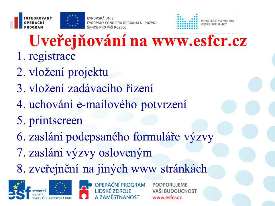 Uveřejňování na www.esfcr.cz 1. registrace 2. vložení projektu 3. vložení zadávacího řízení 4. uchování e-mailového potvrzení 5. printscreen 6. zaslán