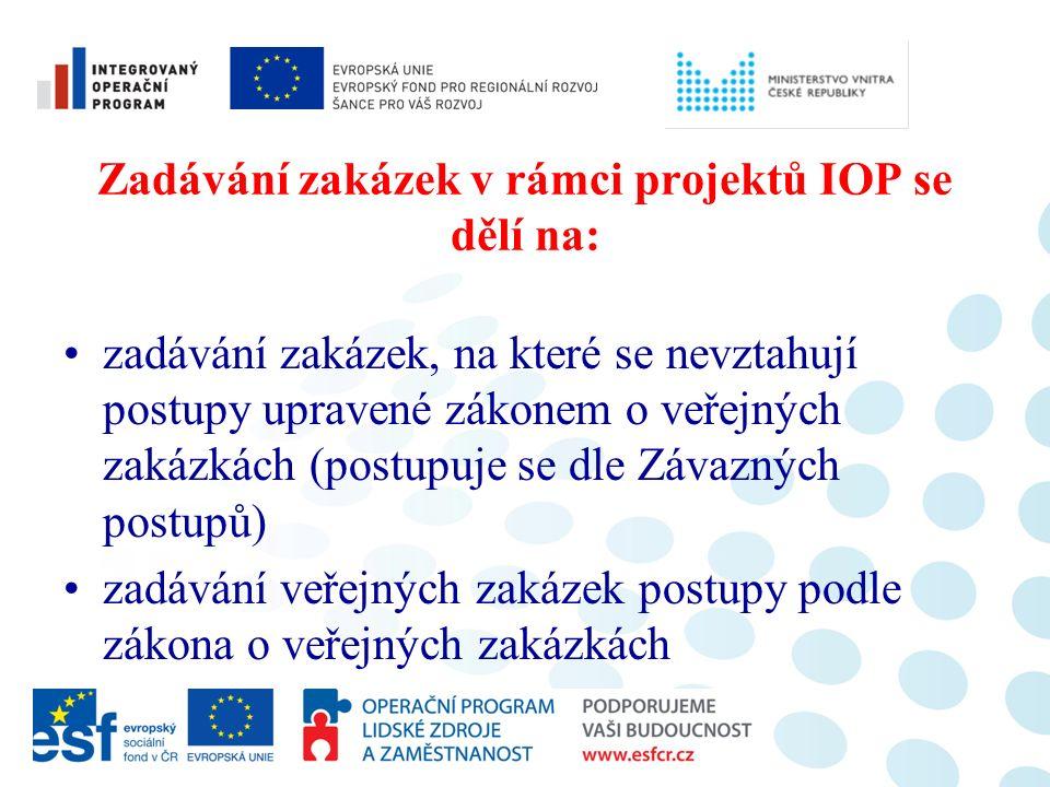 Zadávání zakázek v rámci projektů IOP se dělí na: zadávání zakázek, na které se nevztahují postupy upravené zákonem o veřejných zakázkách (postupuje se dle Závazných postupů) zadávání veřejných zakázek postupy podle zákona o veřejných zakázkách