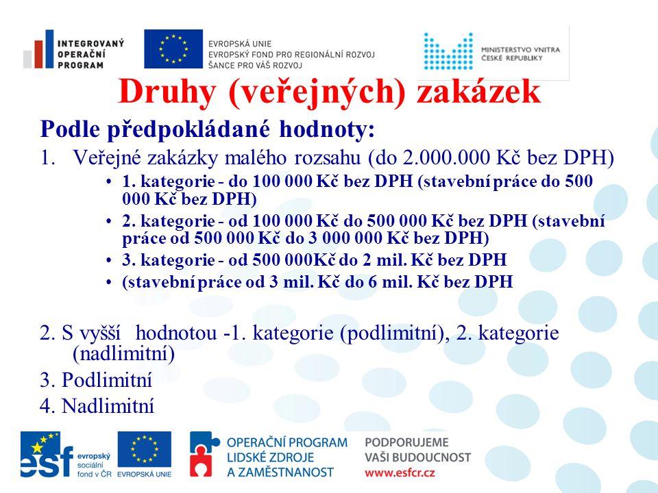 Druhy (veřejných) zakázek Podle předpokládané hodnoty: 1.Veřejné zakázky malého rozsahu (do 2.000.000 Kč bez DPH) 1. kategorie - do 100 000 Kč bez DPH
