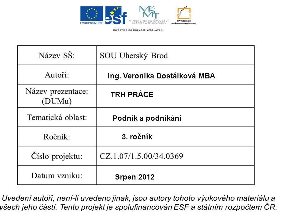 Ing. Veronika Dostálková MBA TRH PRÁCE Podnik a podnikání 3. ročník Srpen 2012