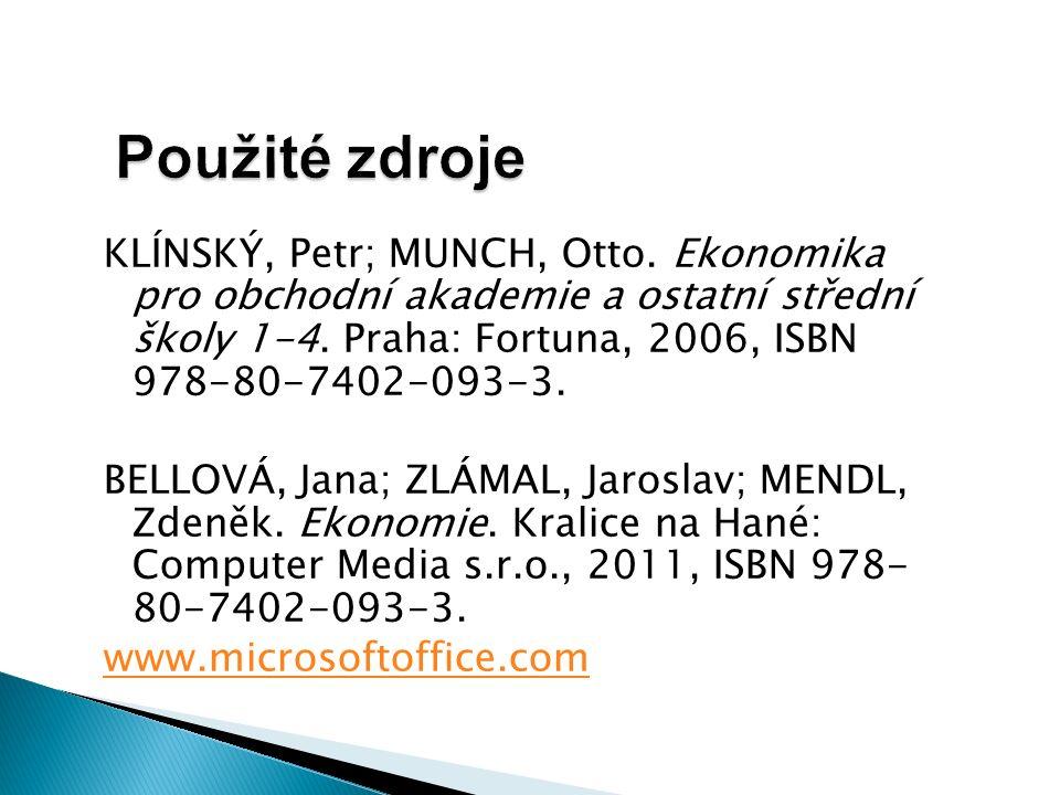 Použité zdroje KLÍNSKÝ, Petr; MUNCH, Otto.
