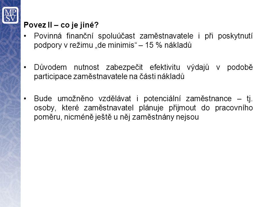"""Povez II – co je jiné? Povinná finanční spoluúčast zaměstnavatele i při poskytnutí podpory v režimu """"de minimis"""" – 15 % nákladů Důvodem nutnost zabezp"""