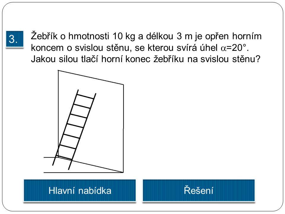 Žebřík o hmotnosti 10 kg a délkou 3 m je opřen horním koncem o svislou stěnu, se kterou svírá úhel  =20°. Jakou silou tlačí horní konec žebříku na sv
