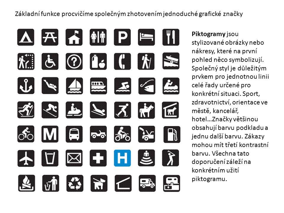 Piktogramy jsou stylizované obrázky nebo nákresy, které na první pohled něco symbolizují.