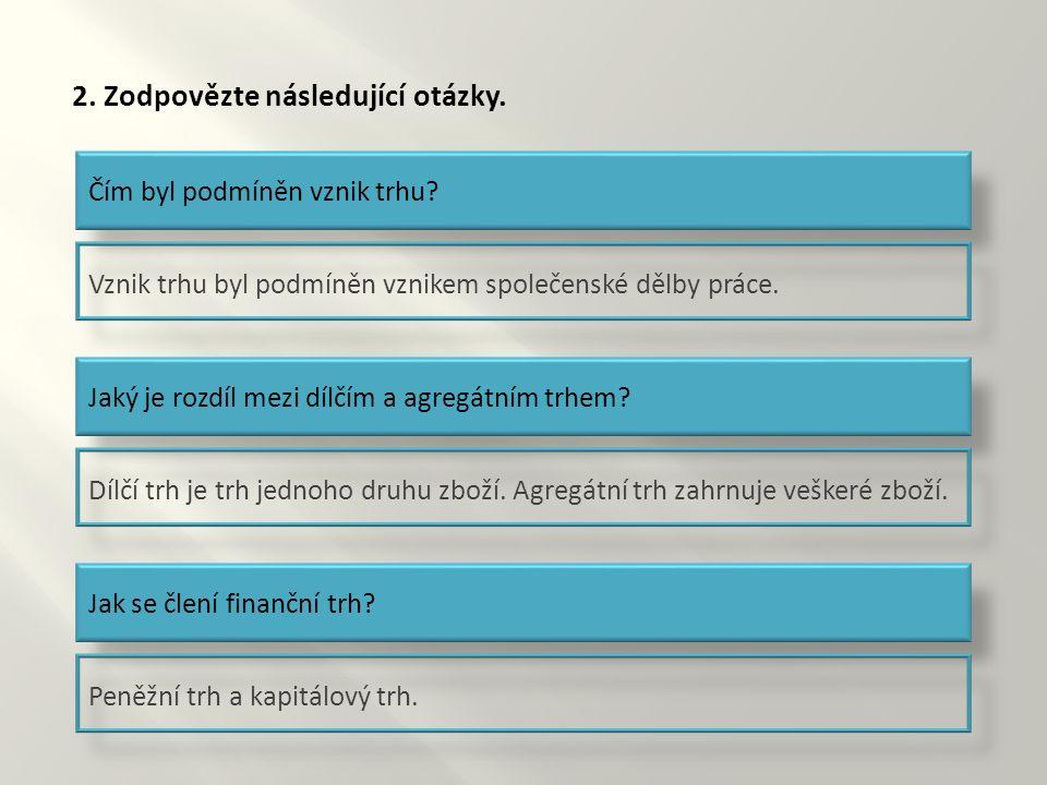 2. Zodpovězte následující otázky. Čím byl podmíněn vznik trhu.