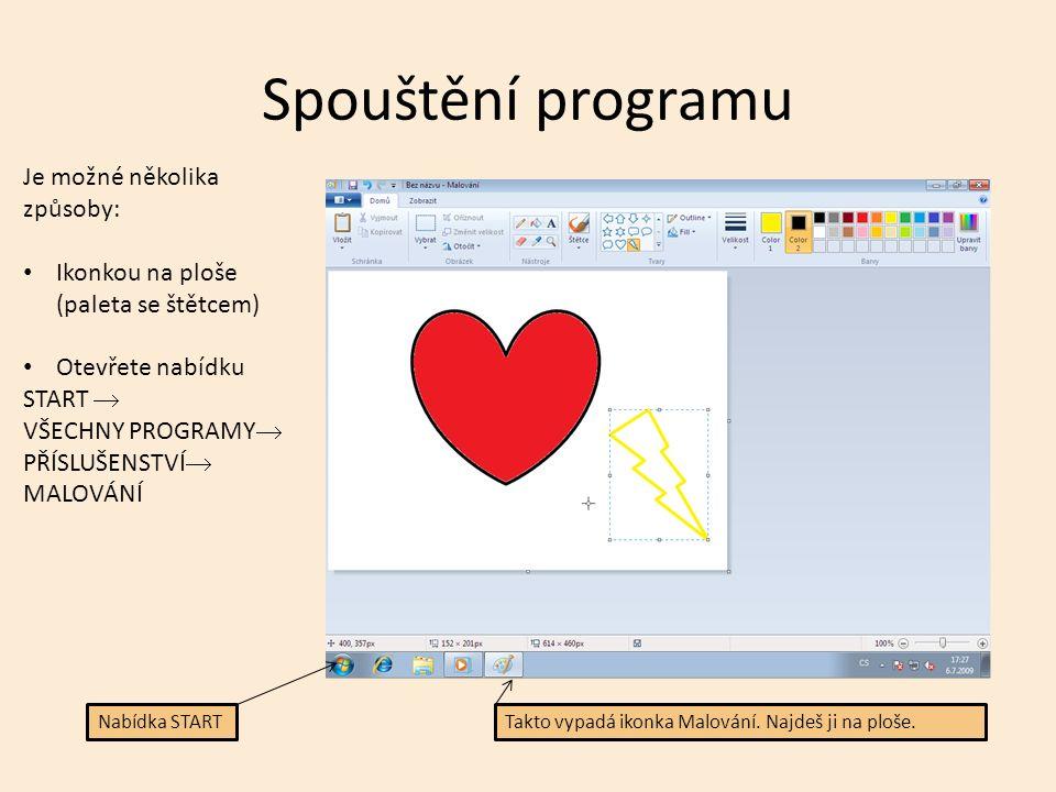 Program Malování je software. Slouží k malování obrázků. Někdy mu říkáme grafický editor.