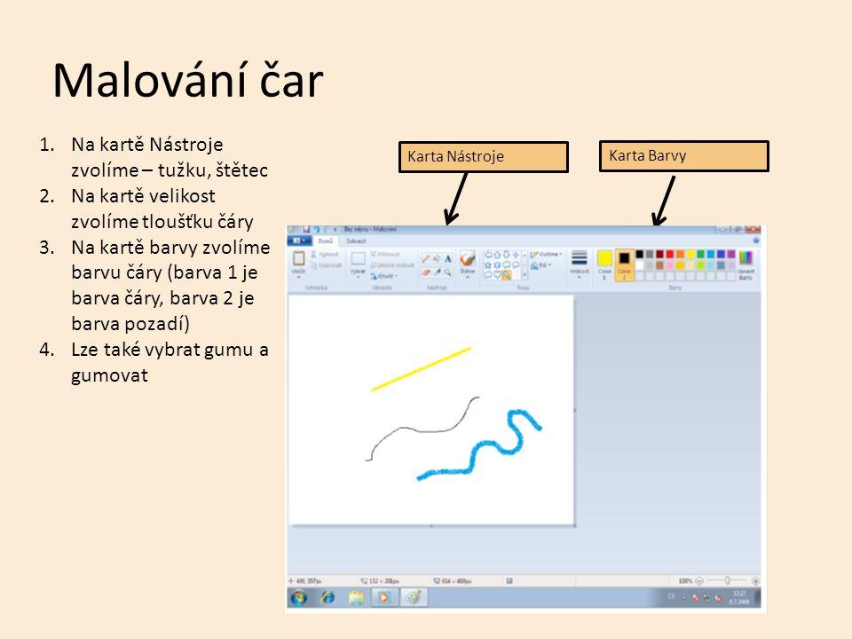 Malování tvarů V programu Malování lze vkládat do obrázku už hotové tvary.