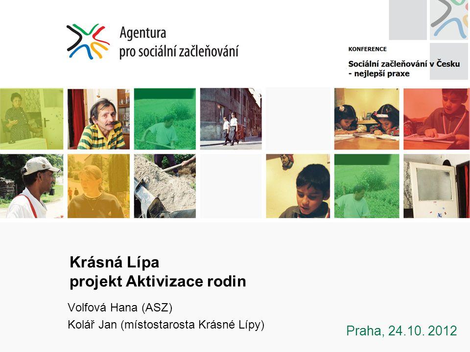 Krásná Lípa projekt Aktivizace rodin Volfová Hana (ASZ) Kolář Jan (místostarosta Krásné Lípy) Praha, 24.10.
