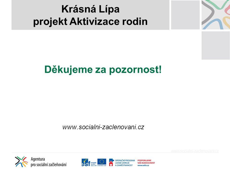 Děkujeme za pozornost! www.socialni-zaclenovani.cz Krásná Lípa projekt Aktivizace rodin