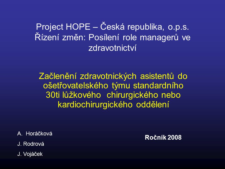 Project HOPE – Česká republika, o.p.s.