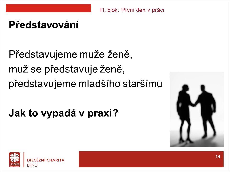 III. blok: První den v práci Představování Představujeme muže ženě, muž se představuje ženě, představujeme mladšího staršímu Jak to vypadá v praxi? 14