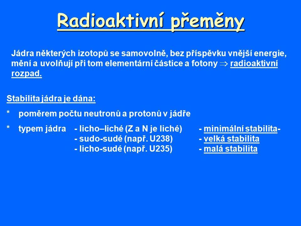 Radioaktivní přeměny Jádra některých izotopů se samovolně, bez příspěvku vnější energie, mění a uvolňují při tom elementární částice a fotony  radioaktivní rozpad.