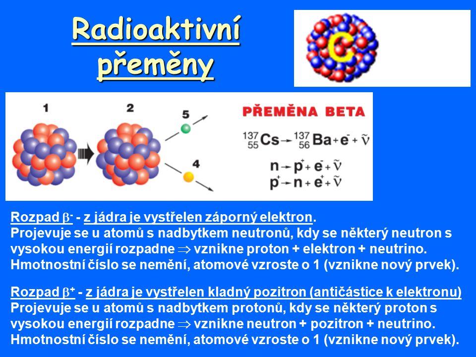 Radioaktivní přeměny Rozpad  - - z jádra je vystřelen záporný elektron.