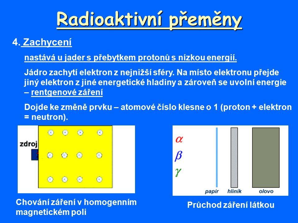 Radioaktivní přeměny 4. Zachycení nastává u jader s přebytkem protonů s nízkou energií.