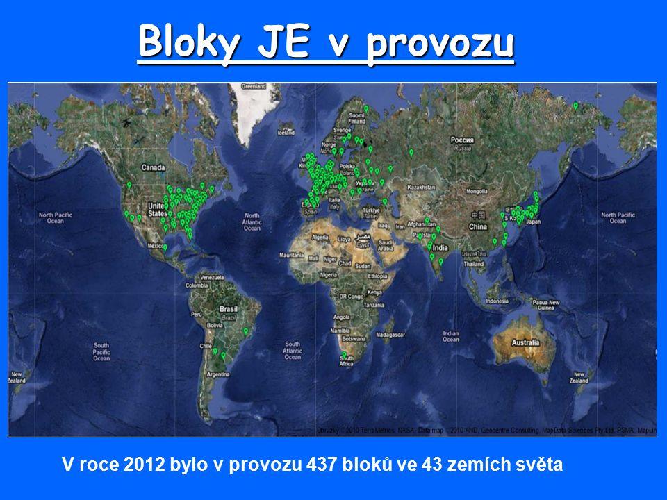 Bloky JE v provozu V roce 2012 bylo v provozu 437 bloků ve 43 zemích světa