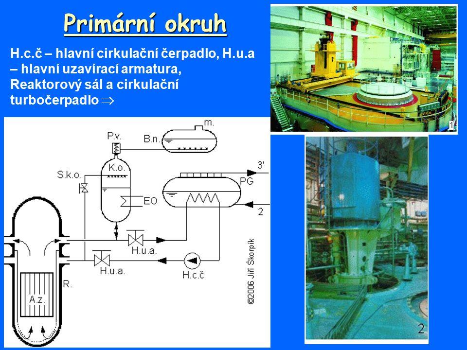 Primární okruh H.c.č – hlavní cirkulační čerpadlo, H.u.a – hlavní uzavírací armatura, Reaktorový sál a cirkulační turbočerpadlo 