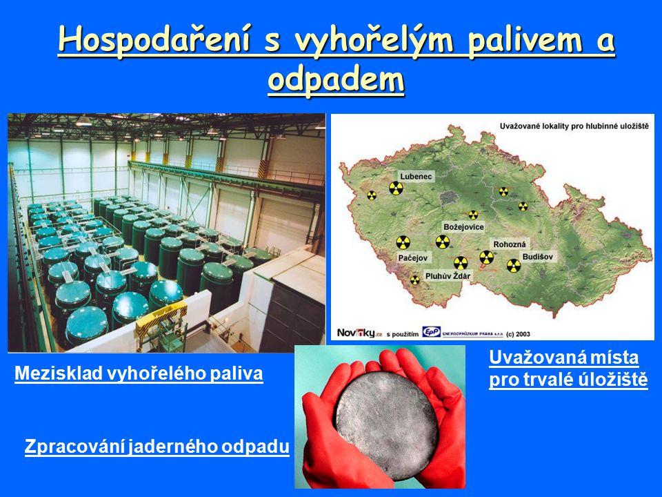 Hospodaření s vyhořelým palivem a odpadem Mezisklad vyhořelého paliva Uvažovaná místa pro trvalé úložiště Zpracování jaderného odpadu