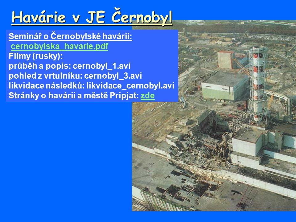 Havárie v JE Černobyl Seminář o Černobylské havárii: cernobylska_havarie.pdf Filmy (rusky): průběh a popis: cernobyl_1.avi pohled z vrtulníku: cernobyl_3.avi likvidace následků: likvidace_cernobyl.avi Stránky o havárii a městě Pripjat: zdezde