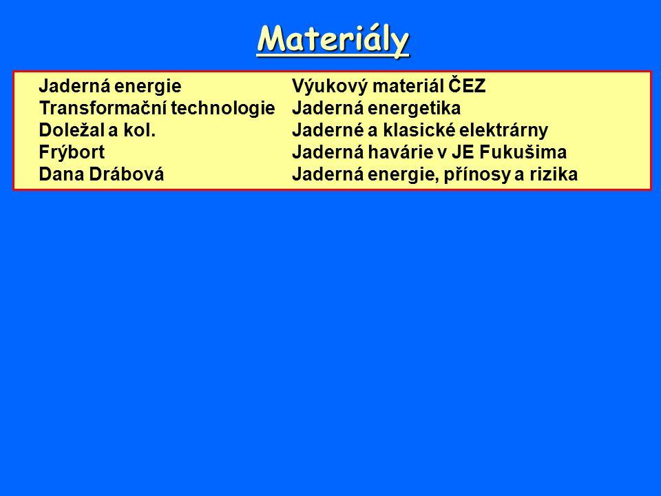 Materiály Jaderná energieVýukový materiál ČEZ Transformační technologieJaderná energetika Doležal a kol.Jaderné a klasické elektrárny FrýbortJaderná havárie v JE Fukušima Dana DrábováJaderná energie, přínosy a rizika