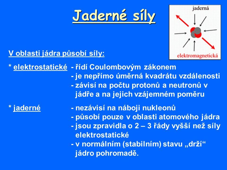 """Jaderné síly V oblasti jádra působí síly: * elektrostatické - řídí Coulombovým zákonem - je nepřímo úměrná kvadrátu vzdálenosti - závisí na počtu protonů a neutronů v jádře a na jejich vzájemném poměru * jaderné - nezávisí na náboji nukleonů -působí pouze v oblasti atomového jádra - jsou zpravidla o 2 – 3 řády vyšší než síly elektrostatické - v normálním (stabilním) stavu """"drží jádro pohromadě."""