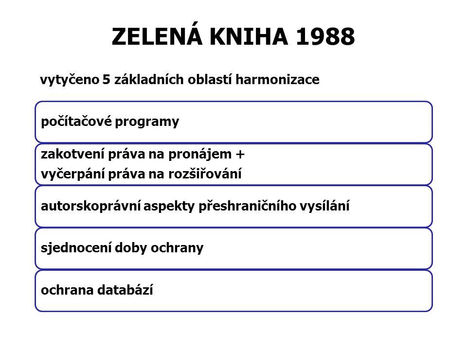 ZELENÁ KNIHA 1988 vytyčeno 5 základních oblastí harmonizace počítačové programy zakotvení práva na pronájem + vyčerpání práva na rozšiřování autorskoprávní aspekty přeshraničního vysílánísjednocení doby ochranyochrana databází