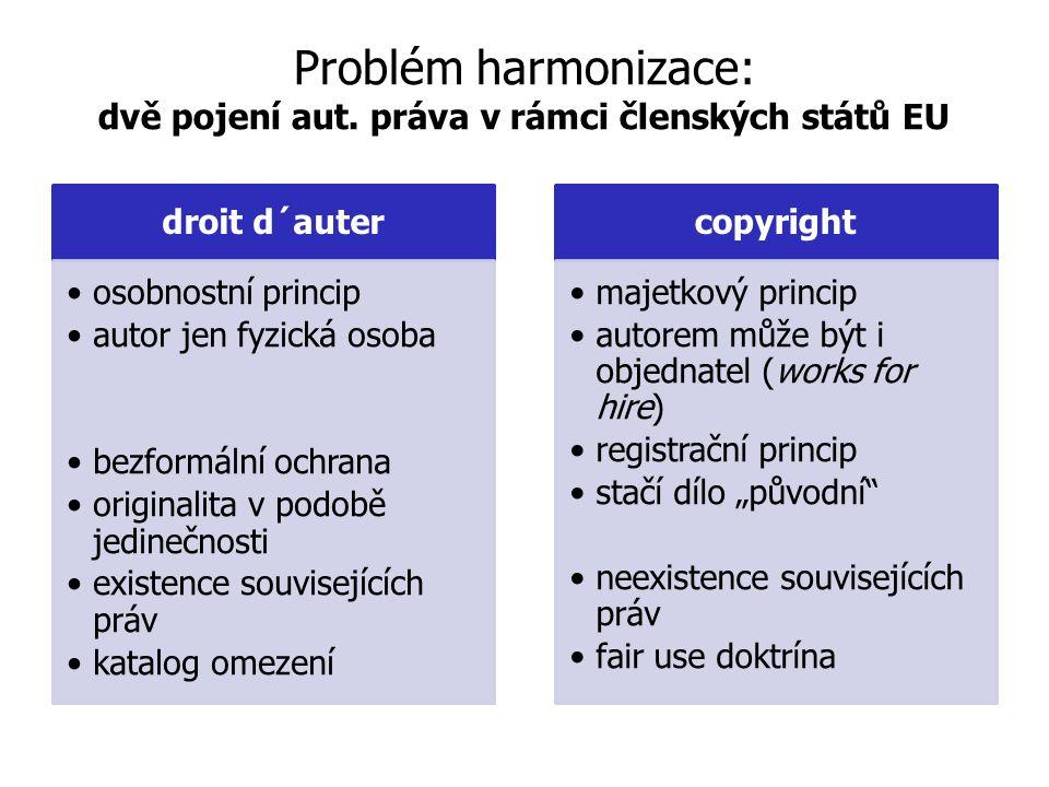 Problém harmonizace: dvě pojení aut.