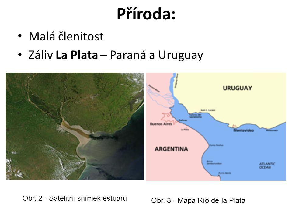 Příroda: Malá členitost Záliv La Plata – Paraná a Uruguay Obr.