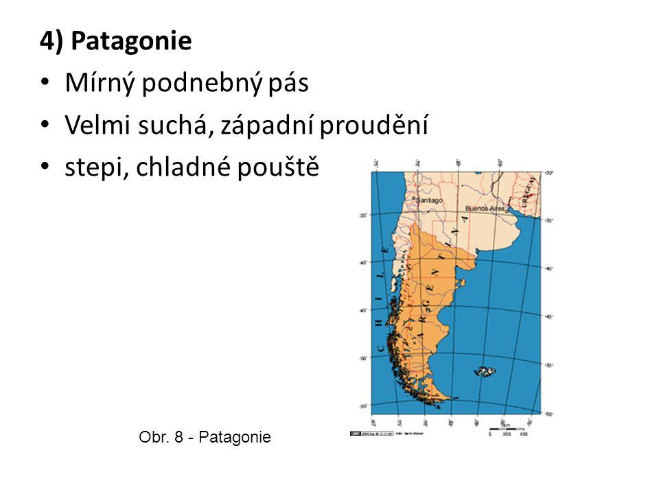 4) Patagonie Mírný podnebný pás Velmi suchá, západní proudění stepi, chladné pouště Obr.