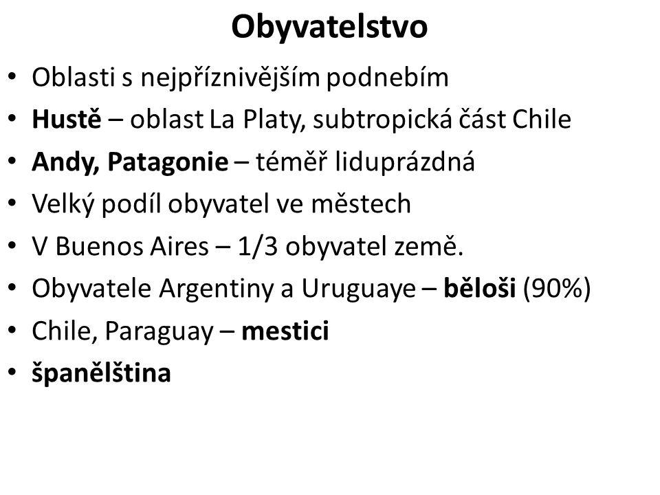 Obyvatelstvo Oblasti s nejpříznivějším podnebím Hustě – oblast La Platy, subtropická část Chile Andy, Patagonie – téměř liduprázdná Velký podíl obyvatel ve městech V Buenos Aires – 1/3 obyvatel země.