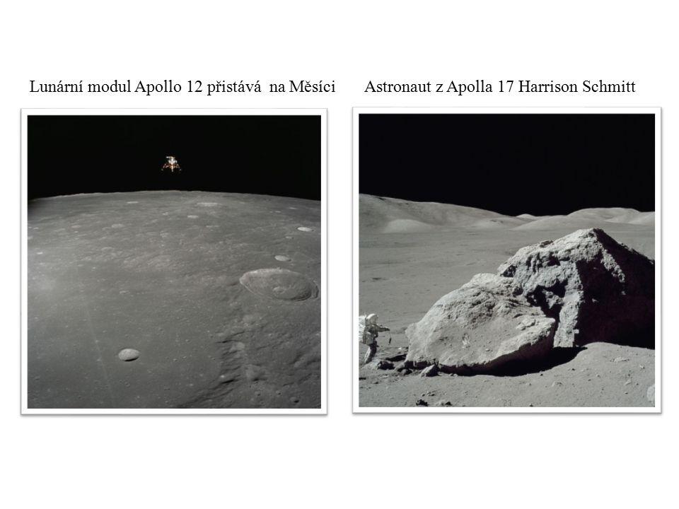 Lunární modul Apollo 12 přistává na Měsíci Astronaut z Apolla 17 Harrison Schmitt