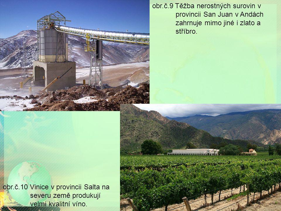 obr.č.9 Těžba nerostných surovin v provincii San Juan v Andách zahrnuje mimo jiné i zlato a stříbro.