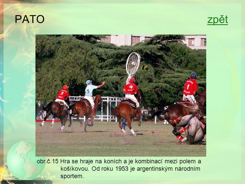 PATO zpětzpět obr.č.15 Hra se hraje na koních a je kombinací mezi polem a košíkovou.