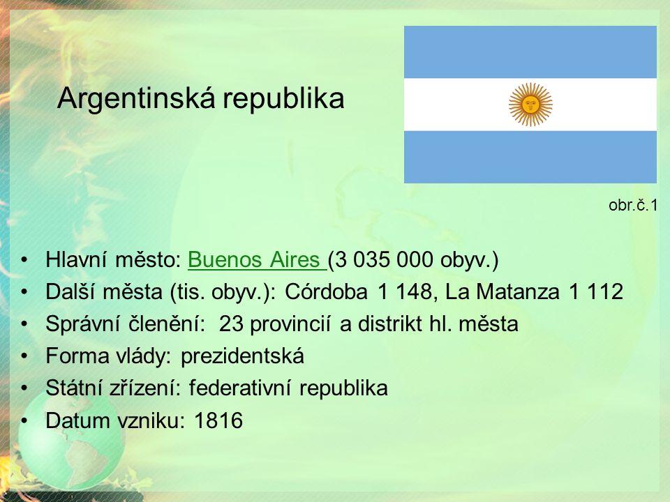 Argentinská republika Hlavní město: Buenos Aires (3 035 000 obyv.)Buenos Aires Další města (tis.