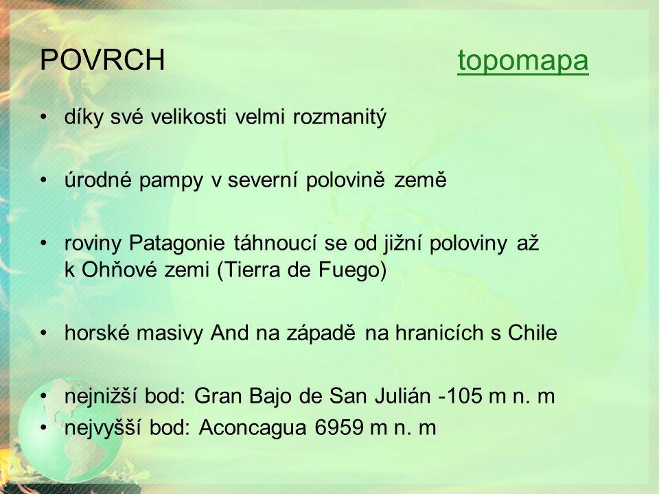 POVRCH topomapatopomapa díky své velikosti velmi rozmanitý úrodné pampy v severní polovině země roviny Patagonie táhnoucí se od jižní poloviny až k Ohňové zemi (Tierra de Fuego) horské masivy And na západě na hranicích s Chile nejnižší bod: Gran Bajo de San Julián -105 m n.