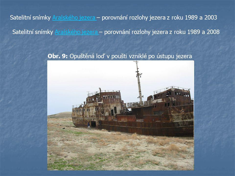Satelitní snímky Aralského jezera – porovnání rozlohy jezera z roku 1989 a 2003Aralského jezera Satelitní snímky Aralského jezera – porovnání rozlohy
