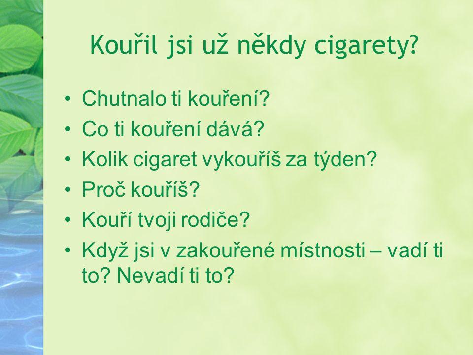 Kouřil jsi už někdy cigarety. Chutnalo ti kouření.