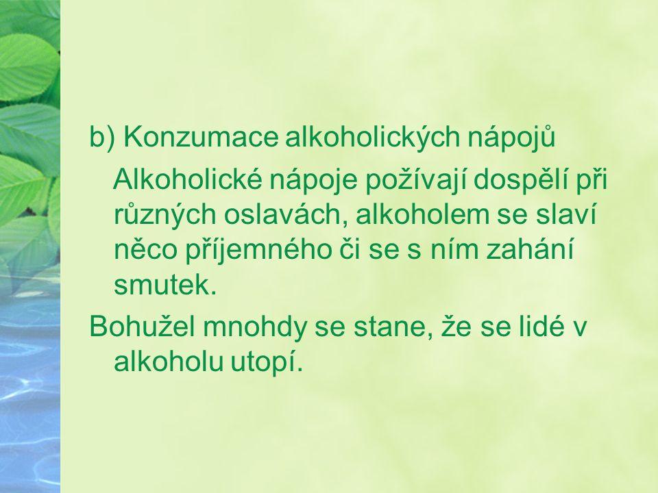 b) Konzumace alkoholických nápojů Alkoholické nápoje požívají dospělí při různých oslavách, alkoholem se slaví něco příjemného či se s ním zahání smutek.