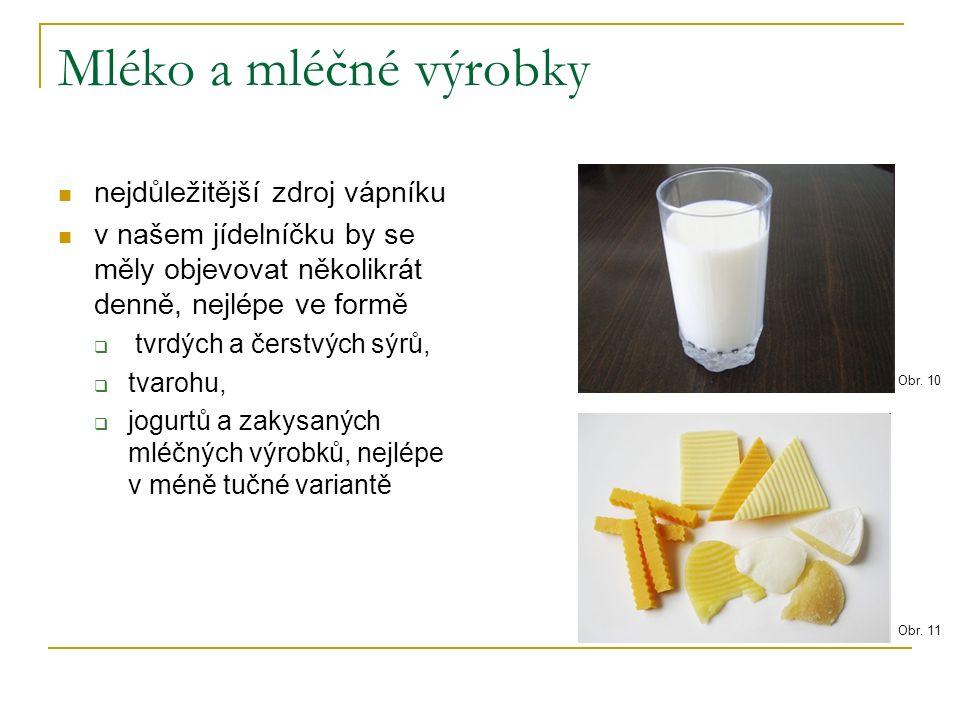 Mléko a mléčné výrobky nejdůležitější zdroj vápníku v našem jídelníčku by se měly objevovat několikrát denně, nejlépe ve formě  tvrdých a čerstvých sýrů,  tvarohu,  jogurtů a zakysaných mléčných výrobků, nejlépe v méně tučné variantě Obr.