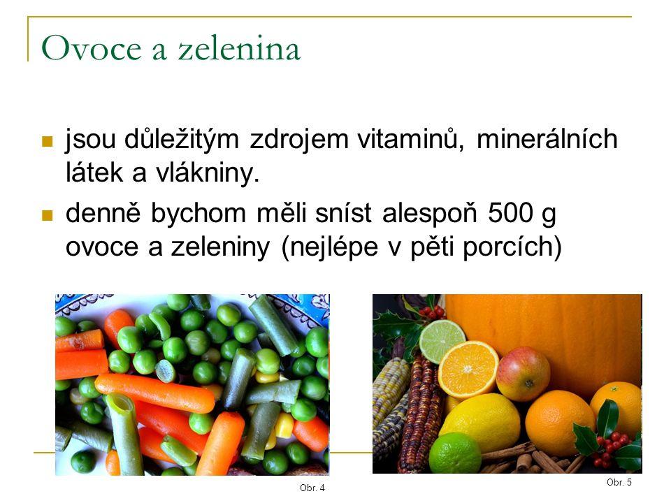 Ovoce a zelenina jsou důležitým zdrojem vitaminů, minerálních látek a vlákniny.